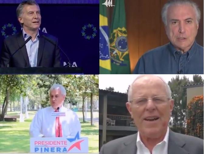 Mauricio Macri presidente de Argentina, Sebastián Piñera ex presidente de Chile, Michel Temer presidente de Brasil y Kuczynski presidente de Perú