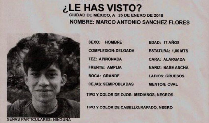 Marco Antonio Sánchez Flores, de 17 años desapareció el 23 de enero luego de ser detenido por policías en la delegación Azcapotzalco.