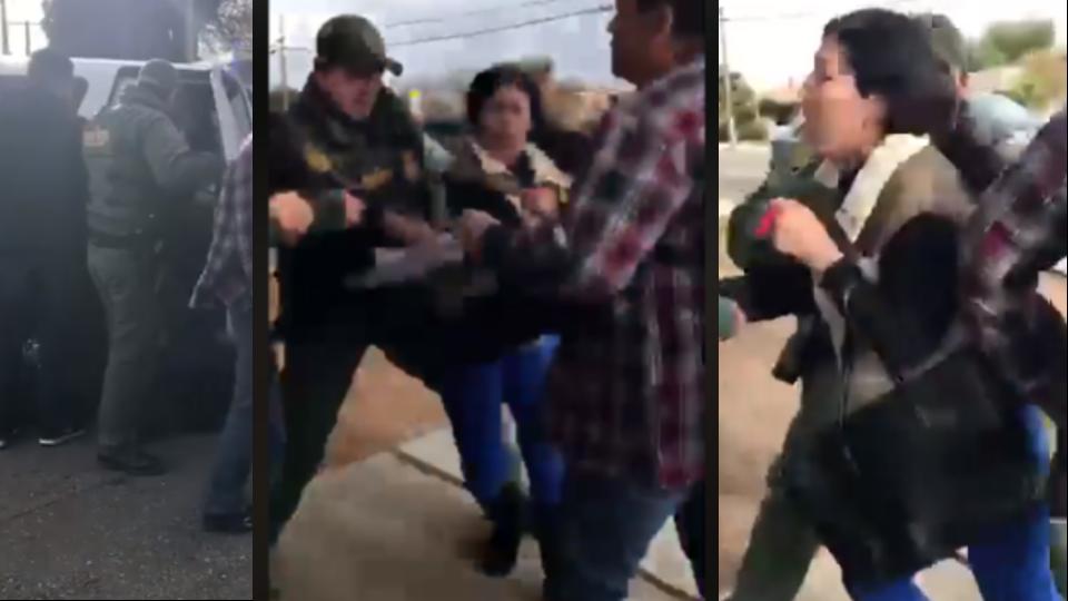 El brutal arresto de la mujer frente a sus hijas indignó a la comunidad de San Diego por la militarización fronteriza. Foto: Video Facebook.