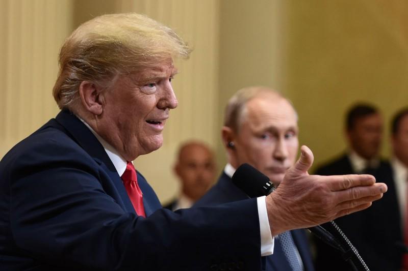El presidente de los EEUU y su par, Vladimir Putin en Helsinki, Finlandia, 16 de julio 2018.