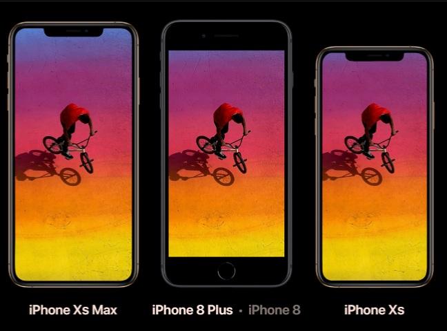 Comparativa entre los dos nuevos modelos de iPhone y el iPhone 8 plus presentado el año pasado. (Foto: Apple).