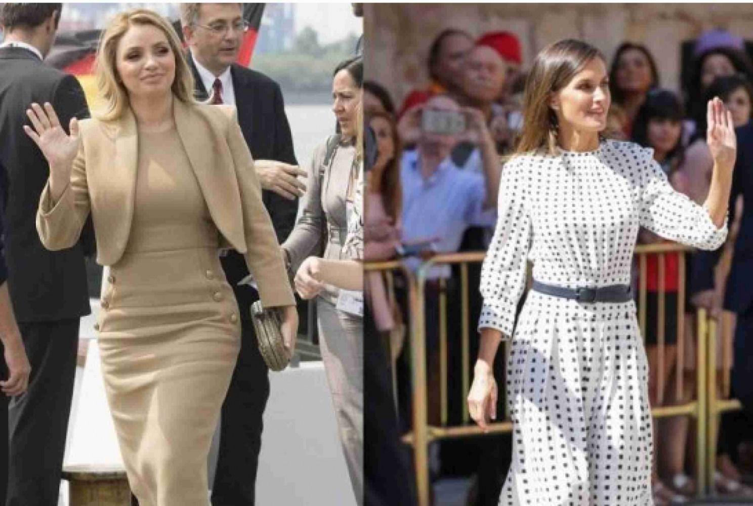 Angélica Rivera usando un conjunto de 41 mil pesos y Letizia de España con un vestido de 2 mil 600 pesos. (Edición: Arena Pública).