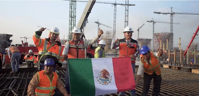 Trabajadores del Nuevo Aeropuerto Internacional de México.