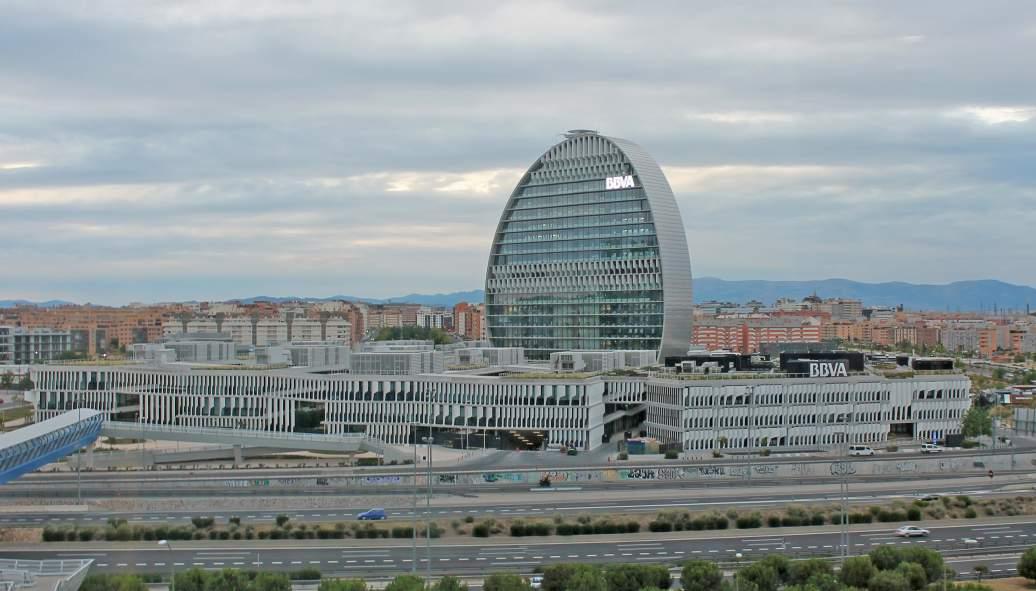 Oficinas corporativas del banco BBVA en Madrid