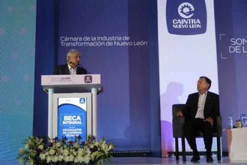 El presidente electo, Andrés Manuel López Obrador, en reunión con empresarios de Nuevo León el 4 de septiembre de 2018 (Foto:lopezobrador.org.mx)