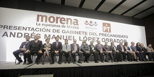Andrés Manuel López Obrador en la presentación de su gabinete de gobierno en diciembre de 2017
