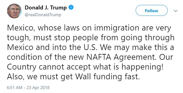 Trump planea condicionar TLCAN a que México endurezca leyes migratorias